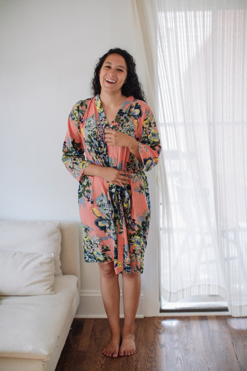 cotton kimono wedding robe plus size robe long robe getting ready gifts Coral bridesmaids robes gray floral robe mother of bride robe