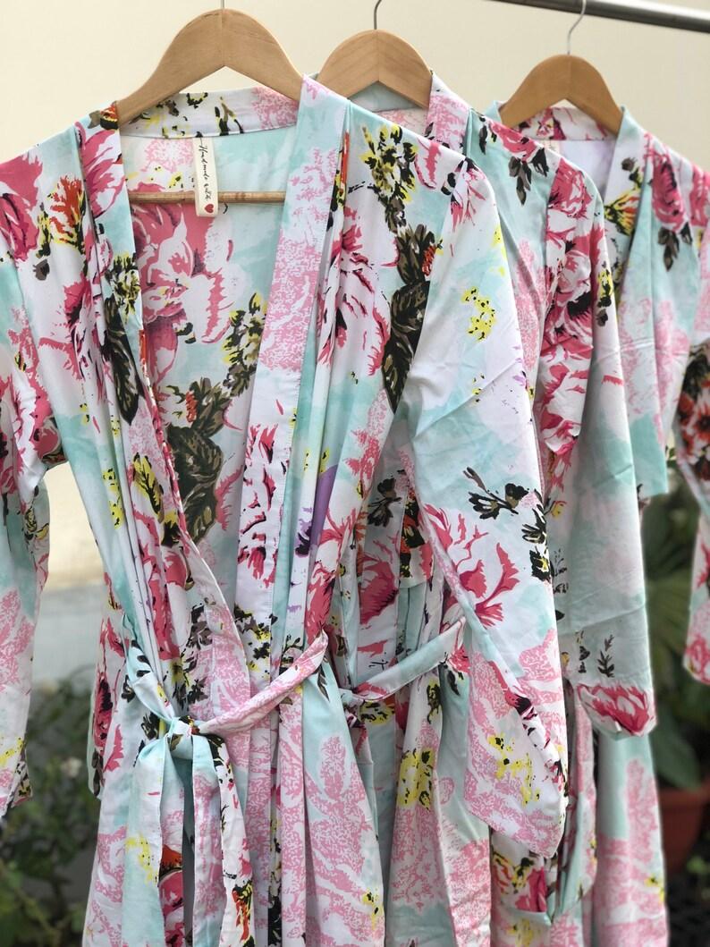 73b0fda0e Aqua blue mint teal bridesmaids robes cotton kimono long