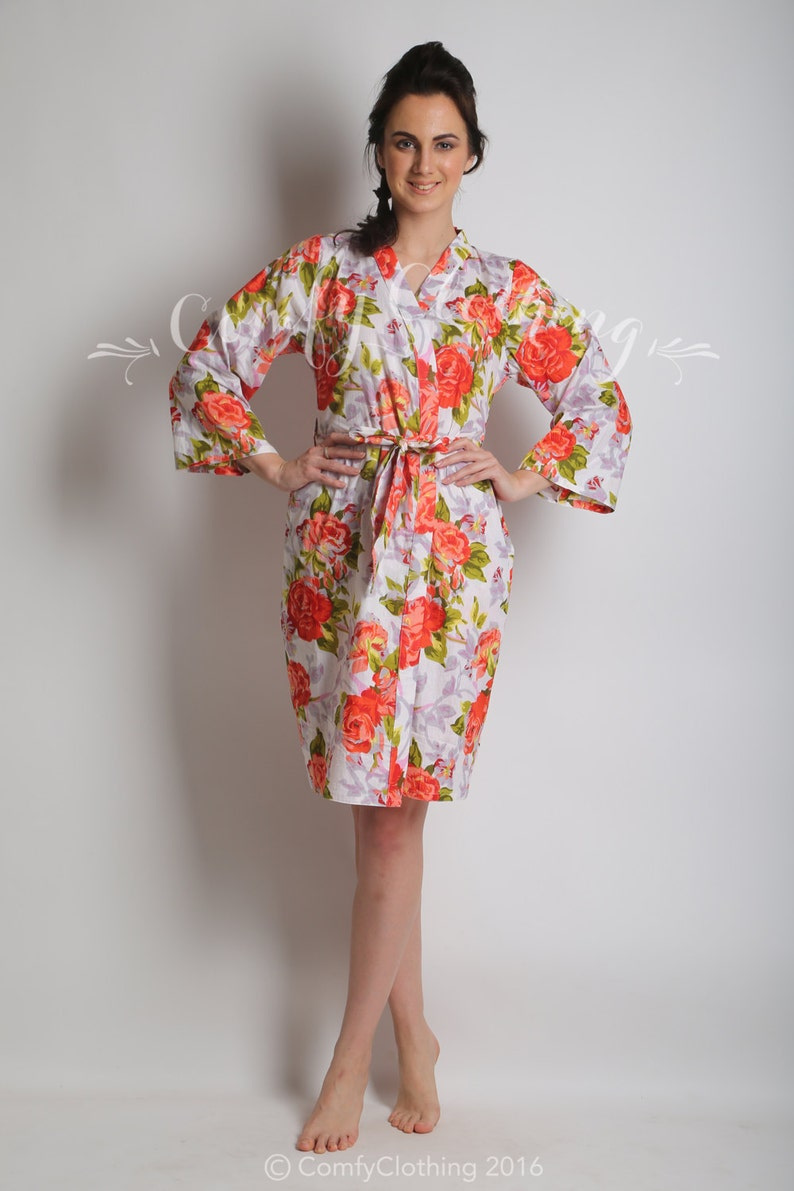 Floral kimono crossover robe beach cover up dressing up robe maid of honor spa robe party shower Bridesmaids bridal