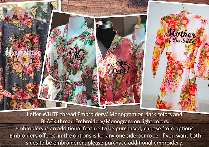 Bachelorette Party Robes Plus Size Kimono Gown Custom Set of Robes Plus Size Robes Floral Loungewear White Floral Cotton Robes