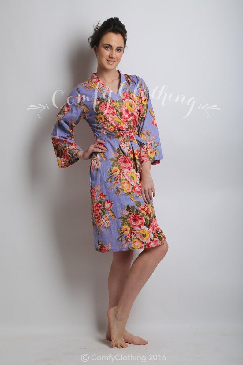 Trendy Dress Chic Robe Bridesmaids Robe embroidered robe Personalized Robe Lilac Kimono Dress bridesmaid robe flower girl robe