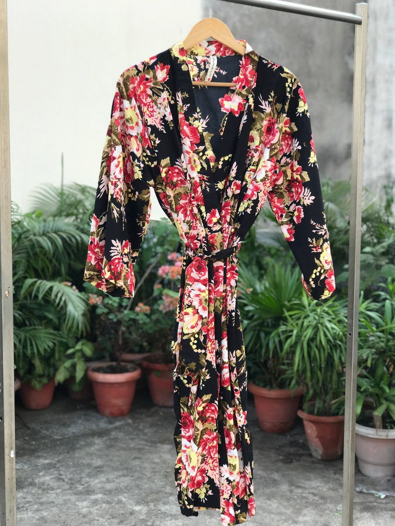 7084eb5504 Ankle length Black floral robe tall women robes bridesmaids