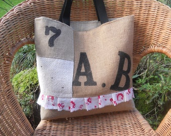 tote - bag jute and hemp linen - cotton voile pleated old French antique linen