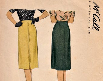 1940's Straight Skirt Pattern Size 24 Waist Vintage 40's McCall 5968 Sewing Pattern Precut Printed Complete
