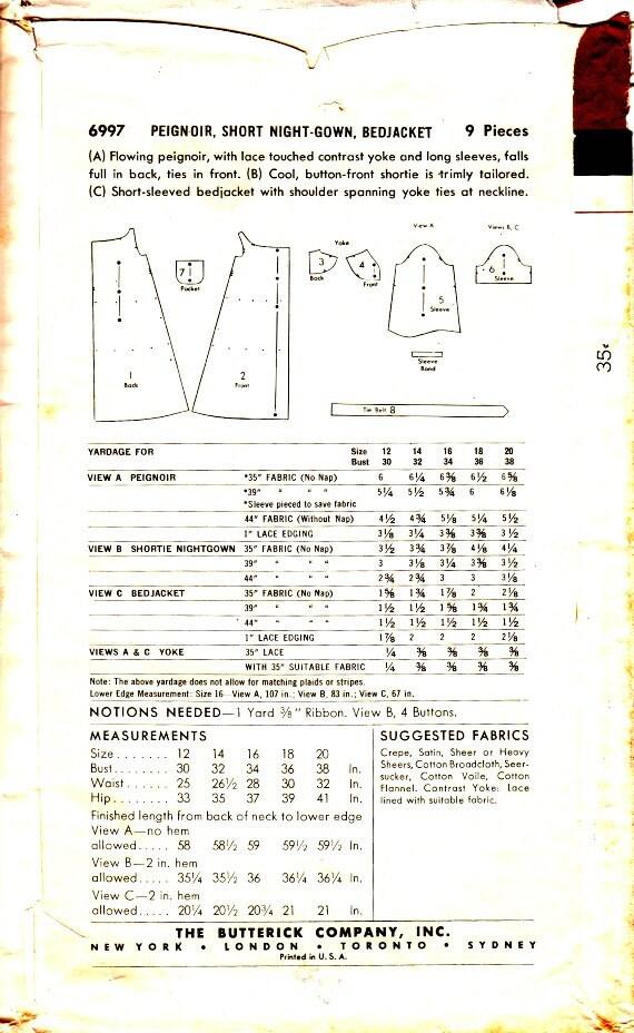 años 50 bata casa vestido cama chaqueta Peigoir patrón tamaño | Etsy
