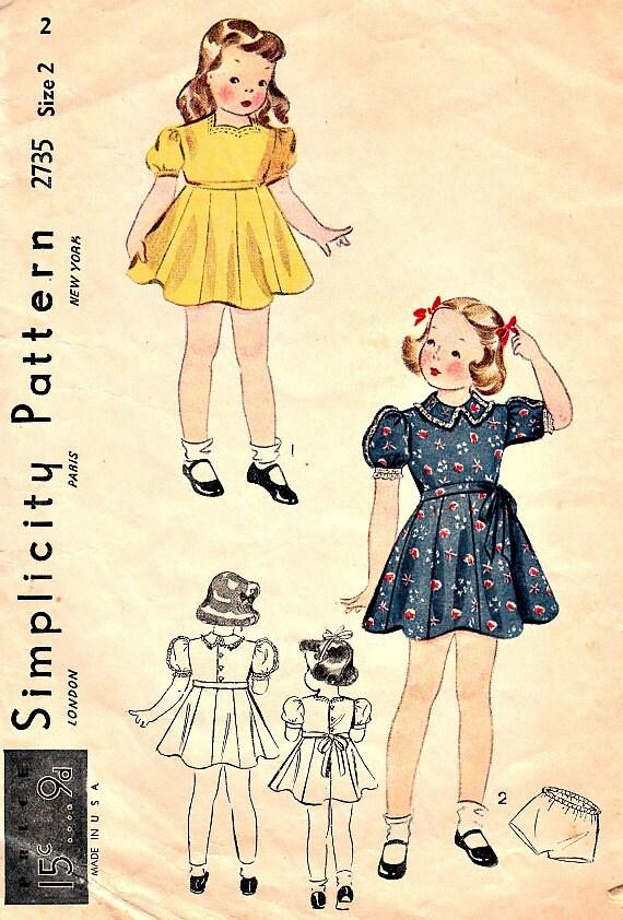 años 30 niños Vintage completo falda vestido bragas costura | Etsy