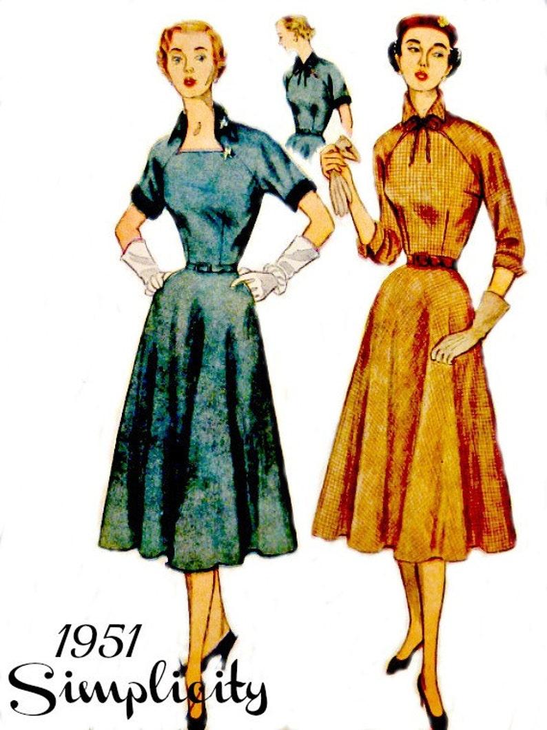 8c82a9fe4 Vintage años 50 patrón de costura de vestido de falda Circular