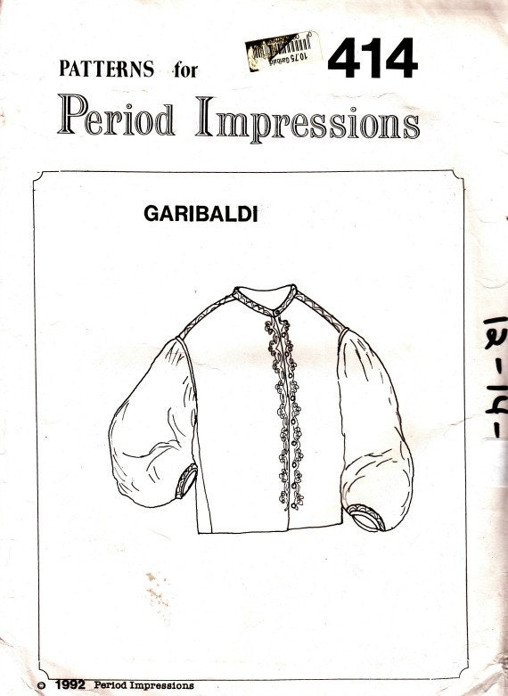 Vintage años 90 Garibaldi camisa blusa traje patrón talla 12 | Etsy