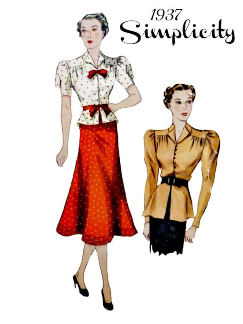 0b7eb49e9 Dos piezas vestido blusa costura patrón busto 32 opcional | Etsy