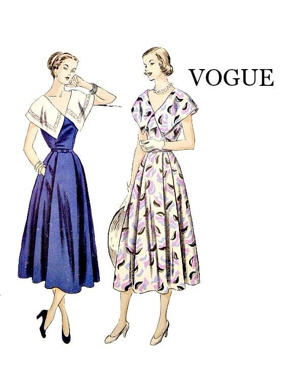 Pedazo de 1940 uno Vintage Vogue de cuello ancho de cabo busto | Etsy