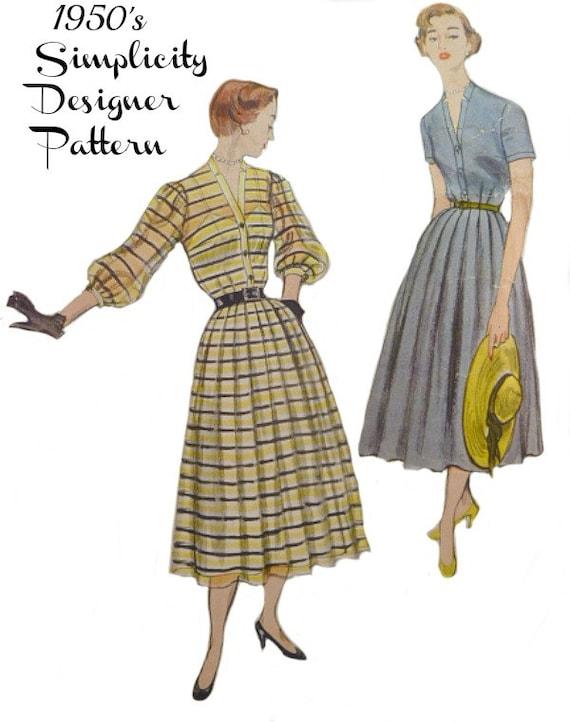 hot sales 3b57c f69c0 Vintage anni 50 cartamodello gonna Shirtwaist vestito taglia 16 busto 34  design semplicità 8251 completare