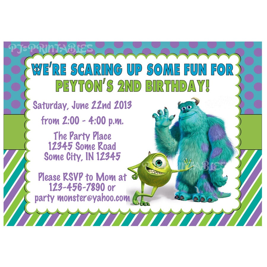 Monsters Inc Birthday Invitation Custom Digital File Etsy