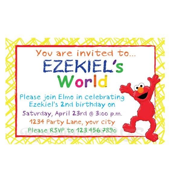 świat Elmo Zaproszenie Niestandardowy Plik Cyfrowy Etsy