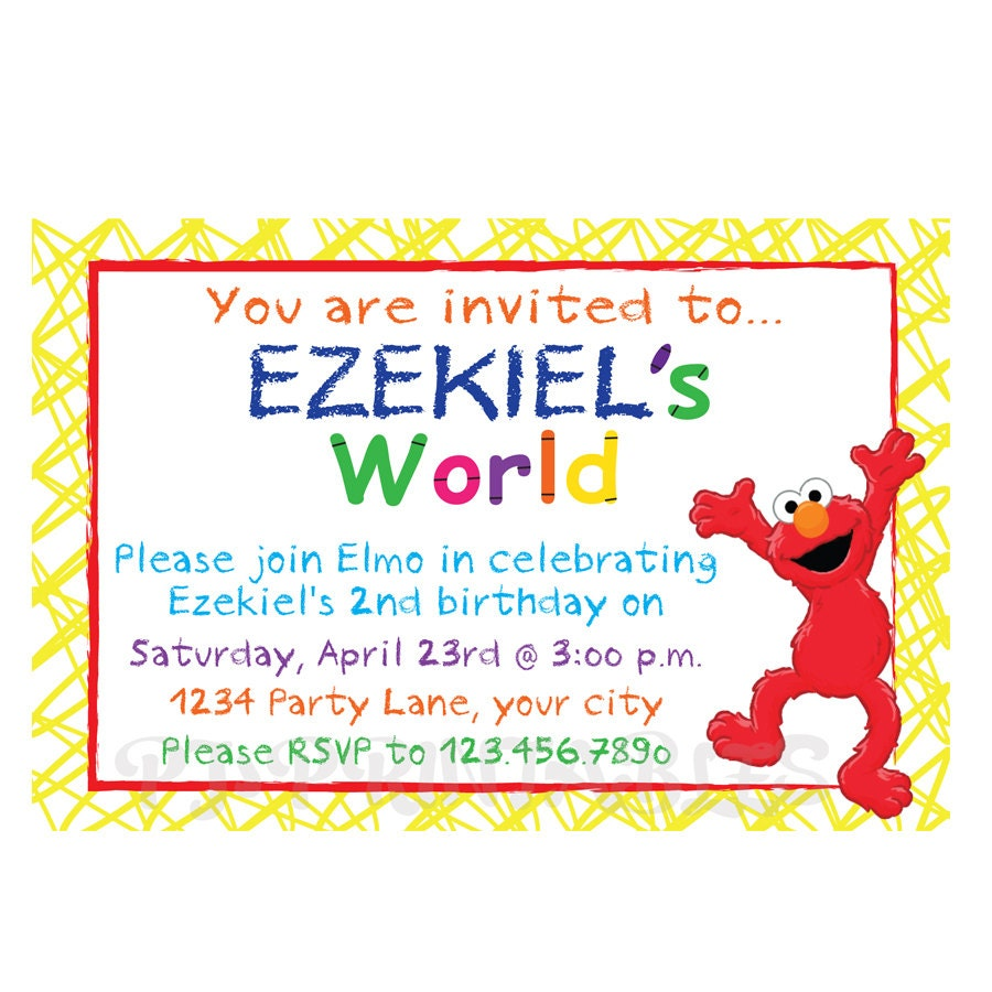 Elmo\'s World Birthday Invitation Custom Digital File | Etsy