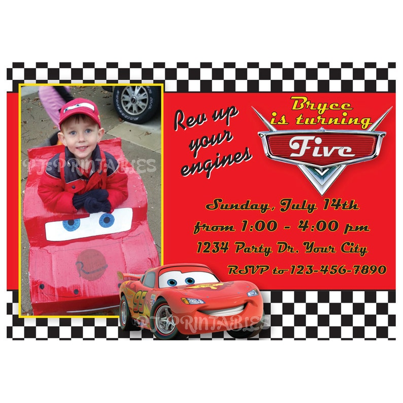 Lightning McQueen Cars Birthday Invitation Custom Digital