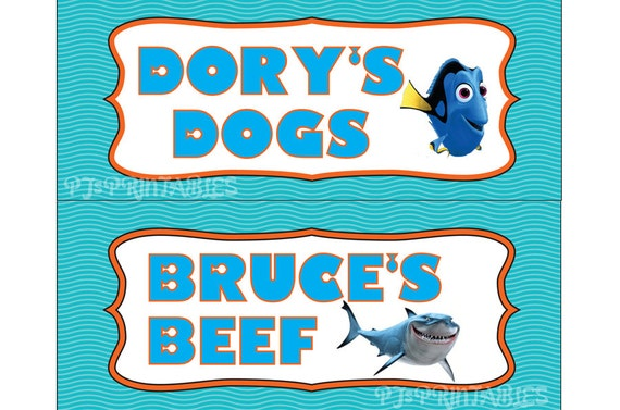 Finding Nemo Themed Food Sign Tent Cards Customized Digital File By
