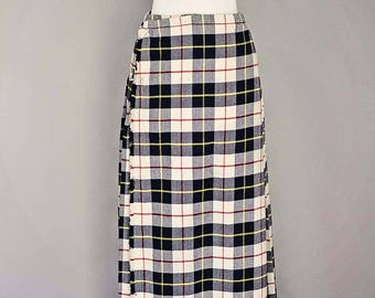 Long Vintage Wool Pleated Tartan Skirt