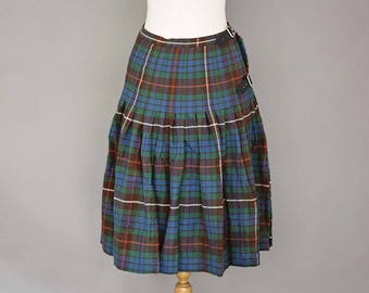 Vintage Pleated Wool Tartan Skirt by The Scotch House