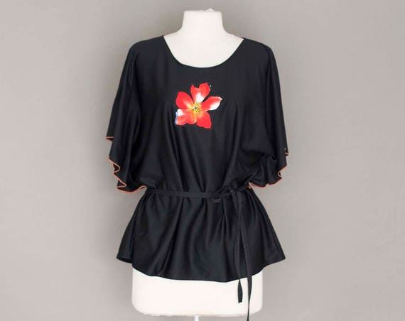 Vintage Butterfly Sleeve Short Black Top