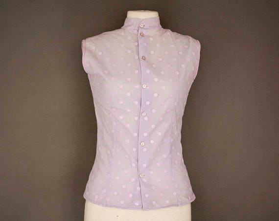 Vintage Light Purple Polka Dot Top