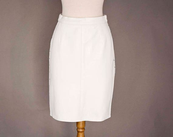 Vintage White Leather Skirt with Studs