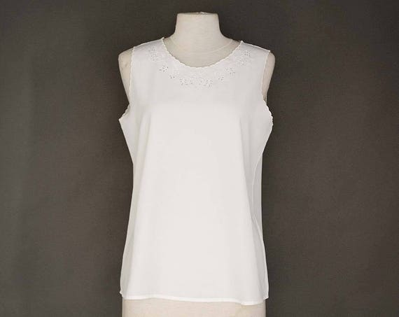 Vintage White Sleeveless Top