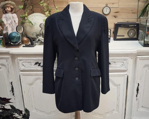 Vintage Long Black Classic Jacket Size Large
