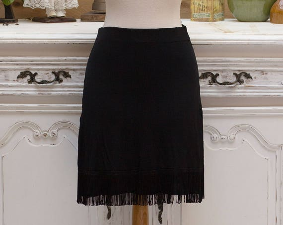 Vintage Black Barcelona Skirt with Fringes