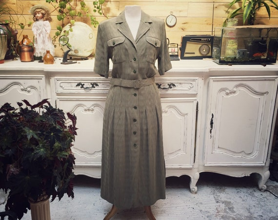 Vintage Long Olive Dress Size 42