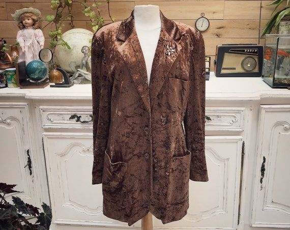 Vintage Long Brown Velvet Jacket Size 40