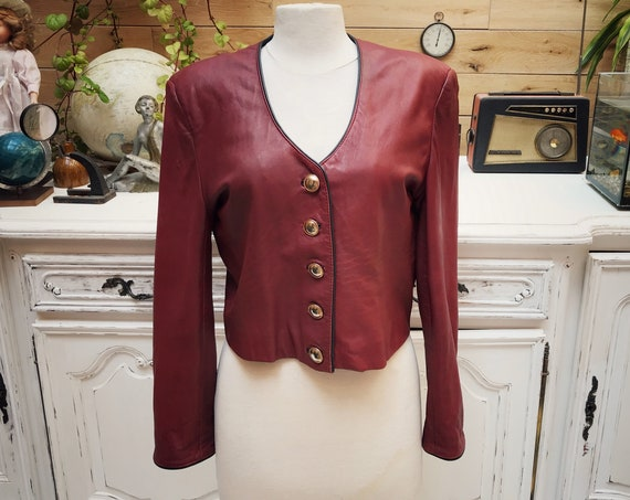 Vintage Burgundy Short Leather Jacket Size 38