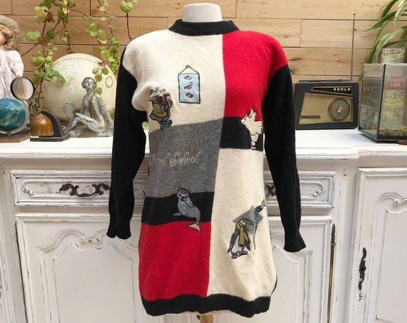 Long Vintage Holiday Sweater by Collection Claudia Corelle Size 42FR/Medium/Large