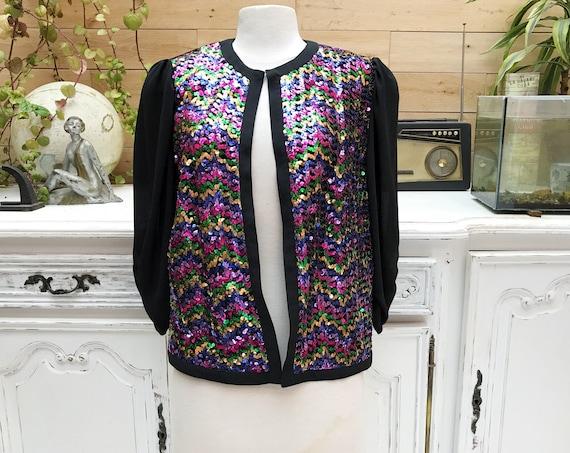 Vintage Sequins Jacket by Hermann Lange Collection Size 42