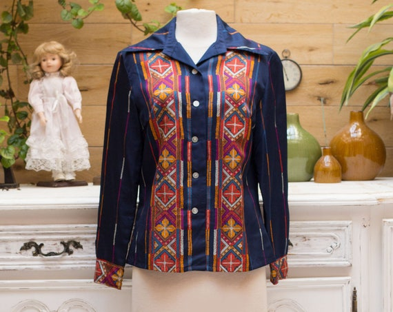 Vintage 1970's Navy Embroidered Print Shirt
