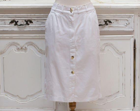 Vintage White Cotton Pencil Skirt