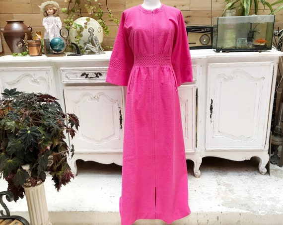 Vintage Pink Maxi Dress with Zipper Size 40/Small