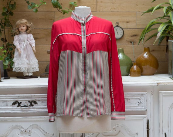 Vintage Red Light Shirt with Stripes