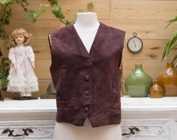 Vintage Brown Leather Short Vest