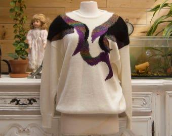 Vintage 1980's White Sweater with Angora Design