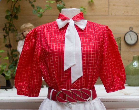 Vintage 1970's Red Blouse with Bow