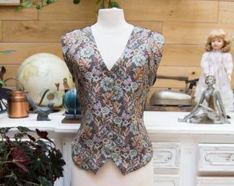 Vintage Broderie Flower Adjustable Vest Size M