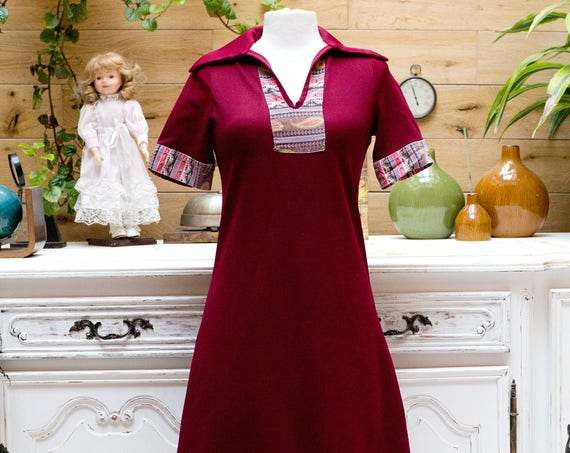 Vintage 1960/70's Handmade Burgundy Dress