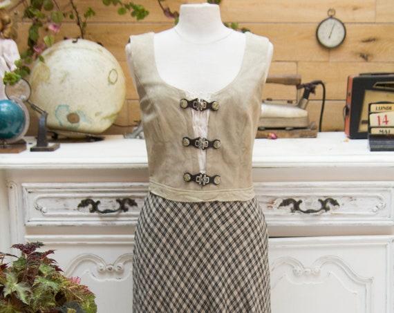 Vintage Suede/Linen Maxi Dress Size 40