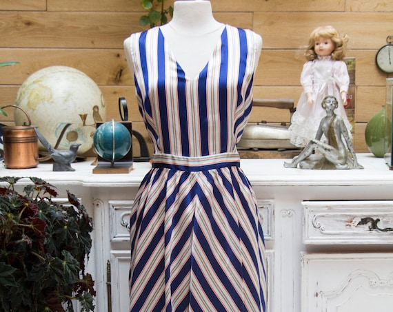 Navy Stripes Long Silk Summer Dress