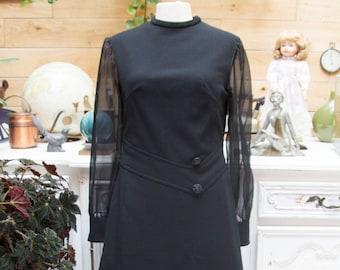 Vintage 1980's Black Elegant Dress