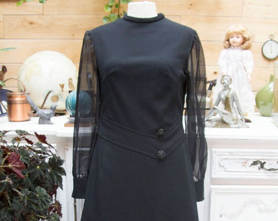 Vintage 1980's Black Elegant Dress