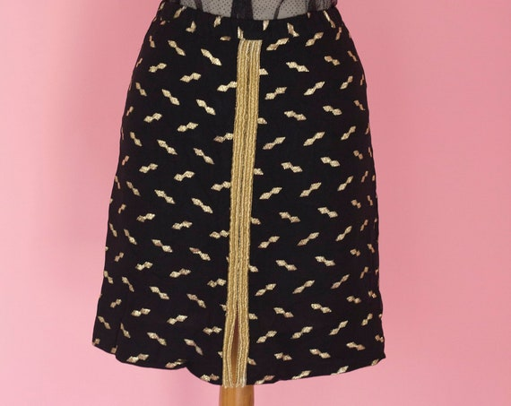 Black and Gold Mini Skirt Size Small