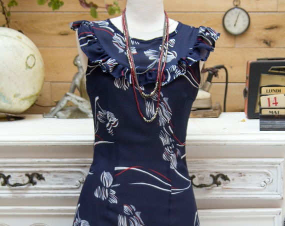 Vintage Navy Dress with Ruffle Size Small