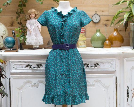 Vintage Flower Ruffle Handmade Green Dress