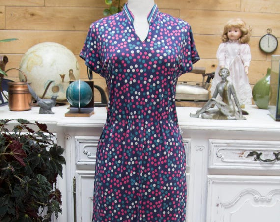 Vintage Handmade Colorful Polka Dot Dress